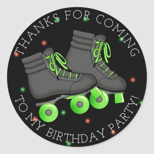 Boy's Roller Skate Birthday Thank You Classic Round Sticker