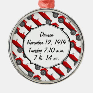 Boys Room Classic Car Gifts Sweet red Retro Car Silver-Colored Round Ornament