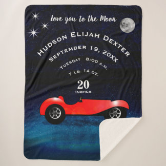 Boys Room Classic Car Love You To the Moon Sherpa Blanket
