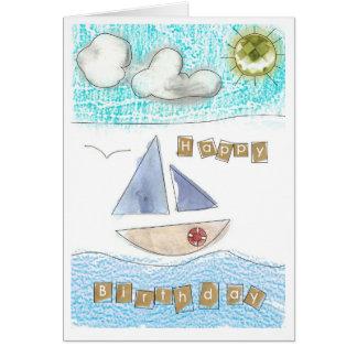 Boy's seaside happy birthday card. card