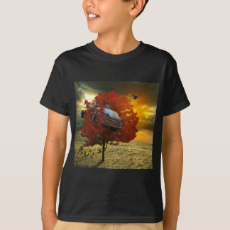 Boy's shirt with to car design stuck in a tree
