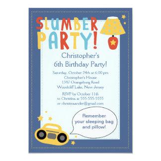 BOYS Sleepover Birthday Party Inviation Card
