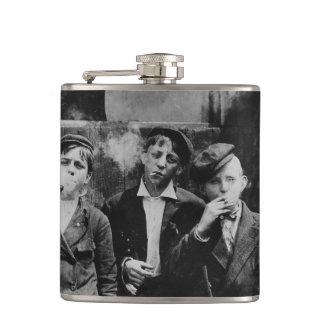 Boys Smoking Cigarettes Hip Flask