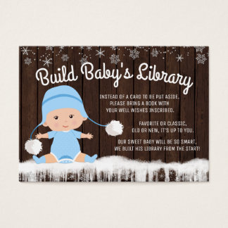 Boys Snowflake Bring a Book Baby Shower Cards