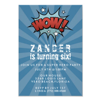 Boys Super Hero Comic Birthday Party Invitation