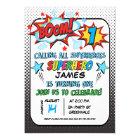 Boys Superhero 1st Birthday Invitation
