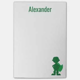Boys Superhero Personalized Green Silhouette Post-it Notes