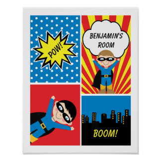Boys Superhero Personalized Poster
