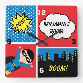 Boys Superhero Personalized Wall Clock