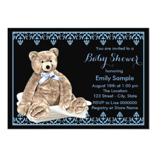 "Boys Teddy Bear Baby Shower 5"" X 7"" Invitation Card"