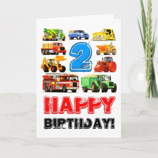 Boys Toy Truck Happy 2nd Birthday Card