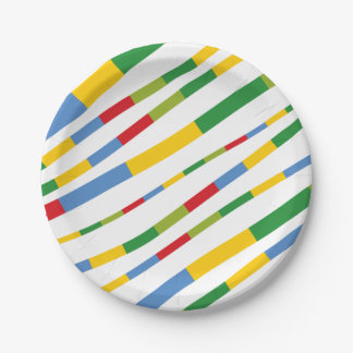Boys Toys Birthday Party Fun Stripes Paper Plates 7 Inch Paper Plate