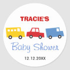 Boys Toys Colourful Transport Baby Shower Sticker