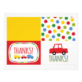 Boys Toys Kid's Birthday Party Thank You Note Card Flyer