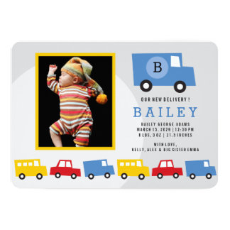 Boys Toys Transport Car Photo Birth Announcement
