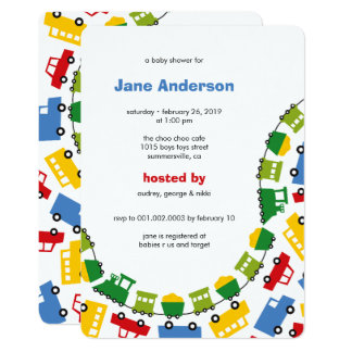 Boys Toys Transport Cute Boy Baby Shower Invite