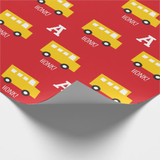 Boys Toys Transport Yellow Bus Monogram Birthday