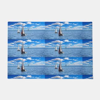 Boy's trendy light blue sail boat door mat