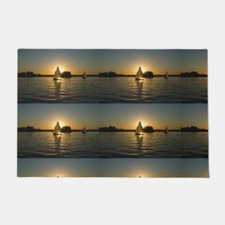Boy's trendy light gray  sail boat door mat