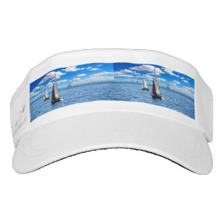 Boy's trendy white  sail boat visor hat