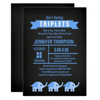 Boys Triplet Elephant Baby Shower Chalkboard Card