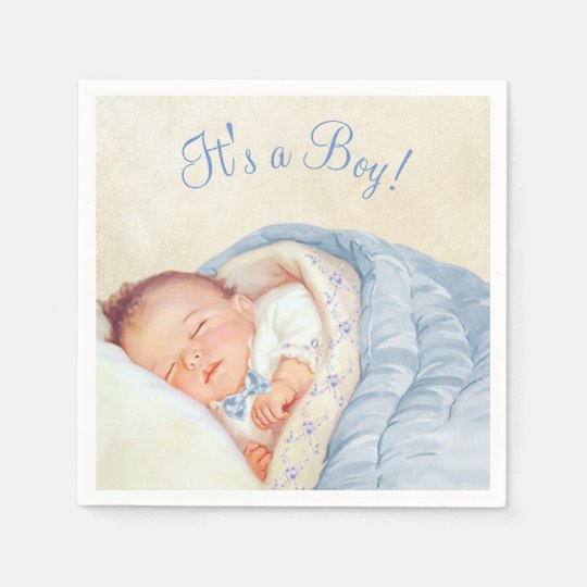 Boys Vintage Baby Shower Disposable Napkins