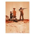 Boys with Rifle Vintage Photo Postcard