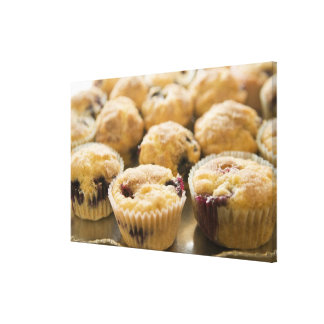Boysenberry muffins on a platter canvas prints