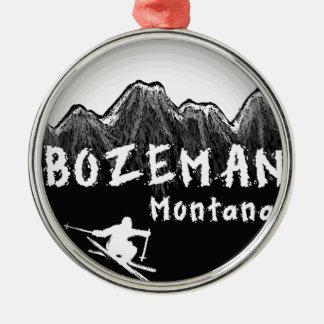 Bozeman Montana artistic skier Silver-Colored Round Ornament