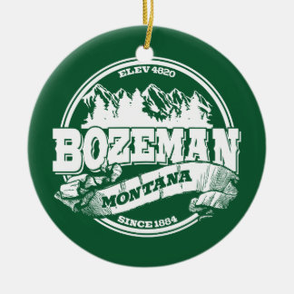 Bozeman Old Circle Green Ceramic Ornament