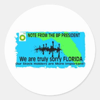 BP TO FLORIDA ROUND STICKER