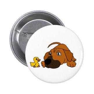 BQ- Brown Puppy Dog with Rubber Duck Cartoon 2 Inch Round Button