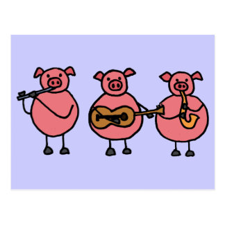 BR- 3 Little musical Pigs postcard