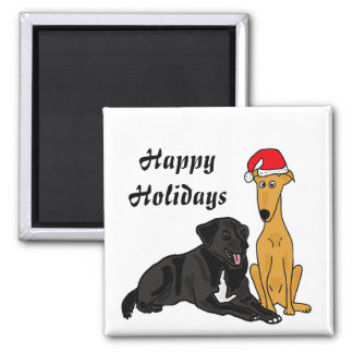 BR- Black lab and Greyhound Christmas Magnet