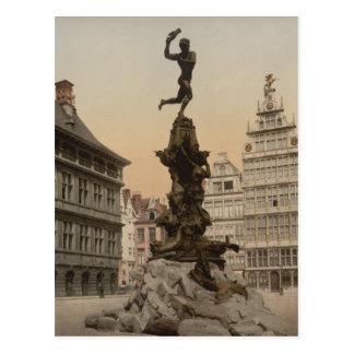 Brabo Monument, Antwerp, Belgium Postcard