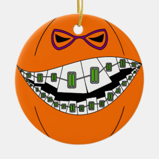 Braces Pumpkin Halloween Evil Grin Geeky Nerdy Round Ceramic Ornament