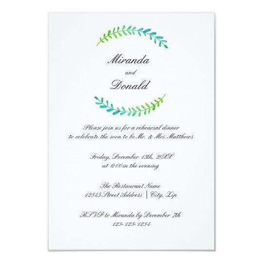 Brach Blue Green Wreath-3x5Rehearsal Dinner Invite