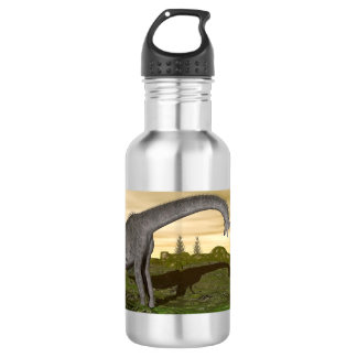 Brachiosaurus and stegosaurus dinosaurs- 3D render 532 Ml Water Bottle