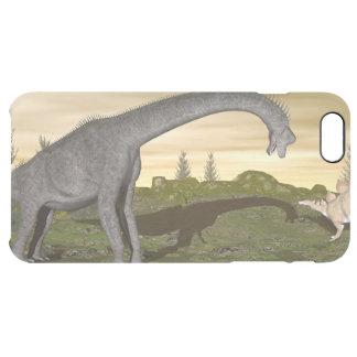 Brachiosaurus and stegosaurus dinosaurs- 3D render Clear iPhone 6 Plus Case