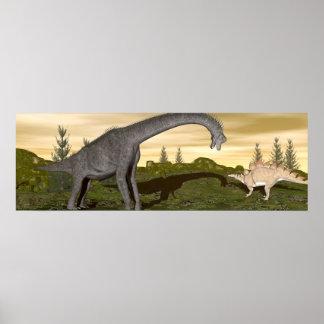Brachiosaurus and stegosaurus dinosaurs- 3D render Poster