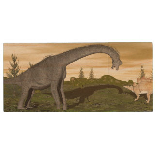 Brachiosaurus and stegosaurus dinosaurs- 3D render Wood USB Flash Drive