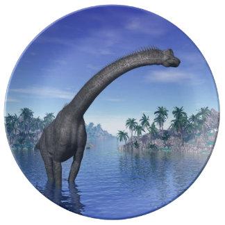 Brachiosaurus dinosaur - 3D render Porcelain Plates