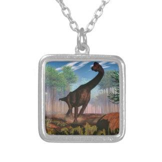 Brachiosaurus dinosaur - 3D render Silver Plated Necklace