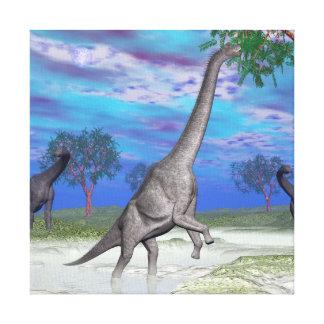 Brachiosaurus dinosaur eating - 3D render Canvas Print