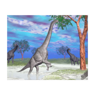 Brachiosaurus dinosaur eating - 3D render Canvas Print
