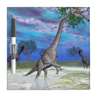 Brachiosaurus dinosaur eating - 3D render Dry Erase Boards