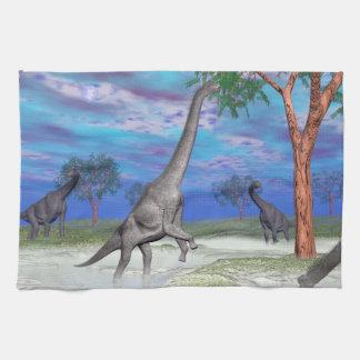 Brachiosaurus dinosaur eating - 3D render Kitchen Towel