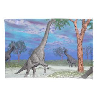 Brachiosaurus dinosaur eating - 3D render Pillowcase
