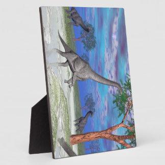 Brachiosaurus dinosaur eating - 3D render Plaque