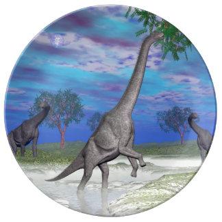 Brachiosaurus dinosaur eating - 3D render Plate